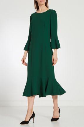 Изумрудно-зеленое платье миди