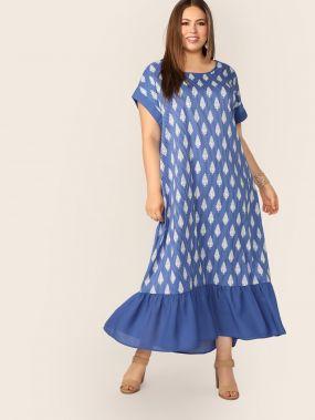 Размер плюс платье в полоску с графическим принтом