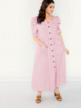 Размер плюс платье макси с квадратным вырезом и пышными рукавами