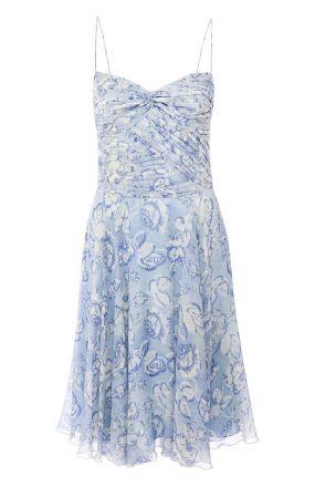 Шелковое мини-платье на бретельках с принтом Ralph Lauren