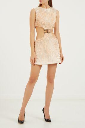 Нюдовое платье мини с блестками