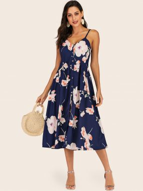 Платье на бретелях с пуговицами и цветочным принтом
