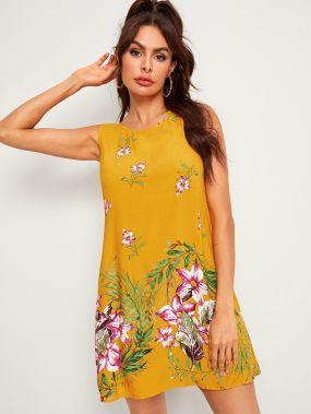 Платье без рукавов с цветочным принтом