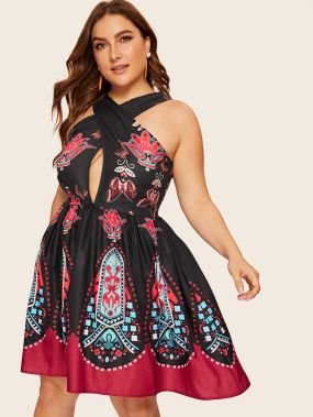 Размер плюс платье с племенным принтом