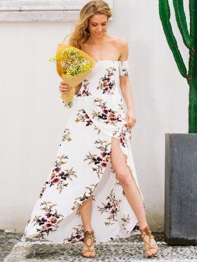 Simplee платье с открытыми плечами и цветочным принтом
