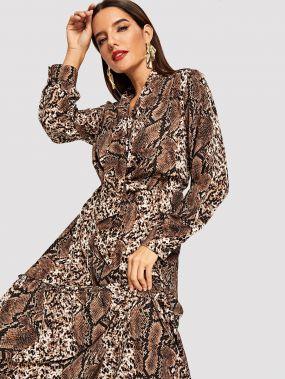 Длинное платье с принтом змеиной кожи