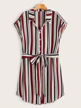 Размера плюс полосатое платье-рубашка с бантом