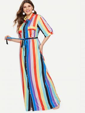 Размера плюс многополосочное платье-рубашка с поясом