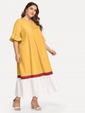 Размер плюс контрастное платье с оборками