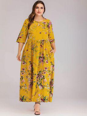 Длинное платье размера плюс с цветочным принтом