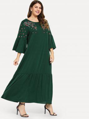 Плюс размеры цветочное платье с оборками рукавами