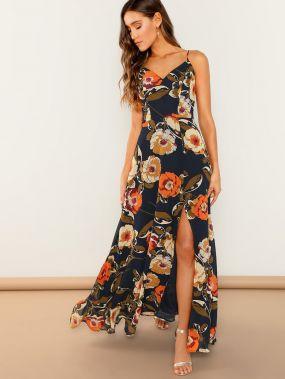 Разрезное платье без рукавов с цветочным принтом