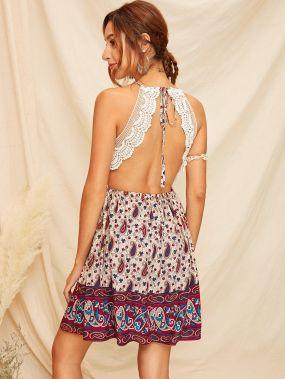 Платье-комбинация с кружевной вставкой и принтом пейсли