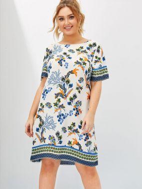 Платье с цветочным оригинальным принтом размера плюс