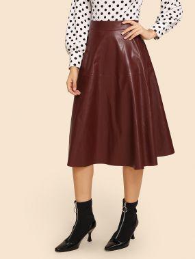 Кожаная юбка-клеш из 70-х с молнией