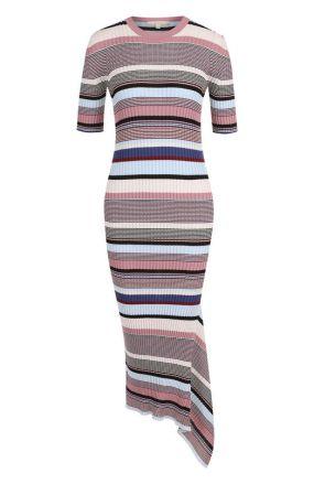 Хлопковое облегающее платье асимметричного кроя в полоску Tak.Ori