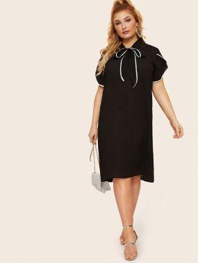 Размер плюс платье с контрастной отделкой и завязывающимся воротником