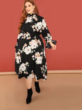 Плюс размеры цветочное платье с оборками