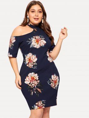 Размер плюс облегающее цветочное платье с открытым плечом