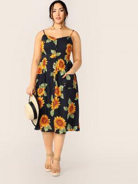 Платье размера плюс на бретелях с цветочным принтом