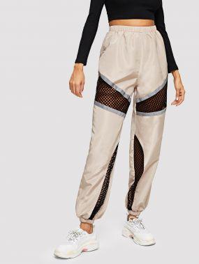 Вставки сетки контрастные спортивные брюки