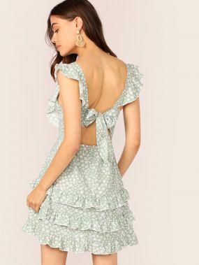 Платье с цветочным принтом, оборкой и завязкой