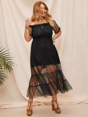 Размер плюс сетчатое платье с открытыми плечами