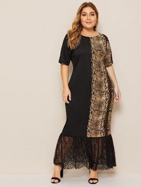 Длинное платье размера плюс с леопардовым принтом