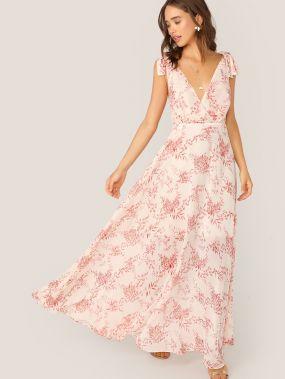 Длинное платье с открытой спинкой и цветочным принтом