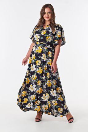 Платье летнее в пол цветочный принт