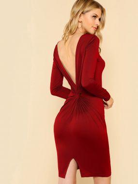 Модное Платье С Открытой Спиной И Перекрутом Твист
