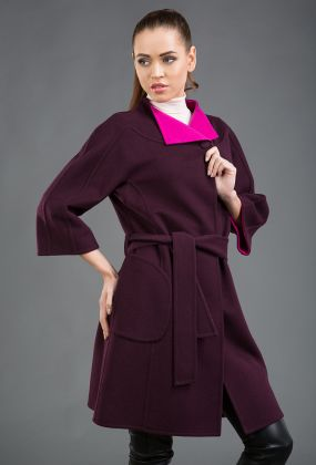 Молодежное шерстяное пальто средней длины на маленький рост