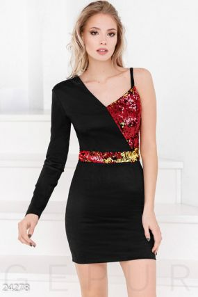 Комбинированное коктейльное платье