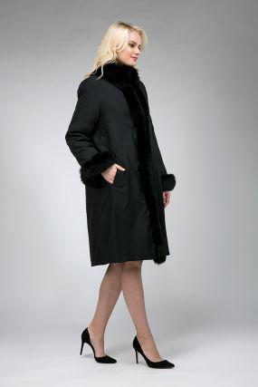 Женское пальто на кролике с песцовой отделкой
