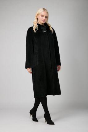 Женское пальто из сури альпака с мехом норки