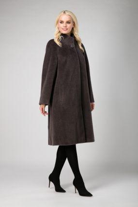 Женское длинное классическое пальто из альпака сури