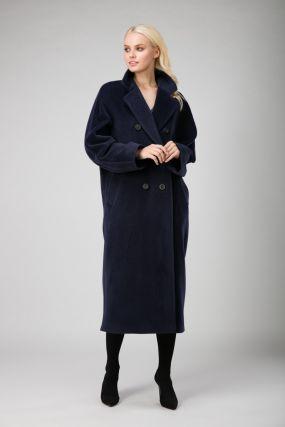Длинное женское двубортное пальто оверсайз