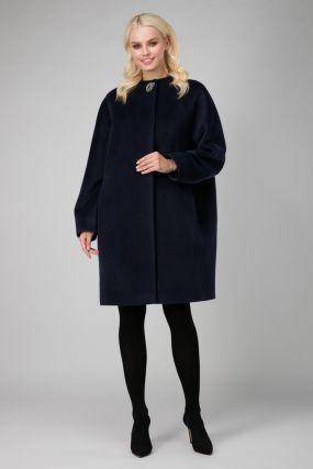 Женское пальто кокон на большой размер из шерсти