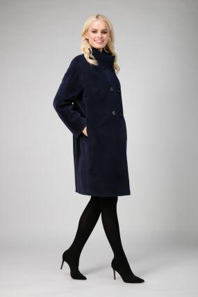 Женское двубортное пальто без меха из ангоры и шерсти
