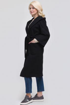 Женское длинное шерстяное пальто с капюшоном