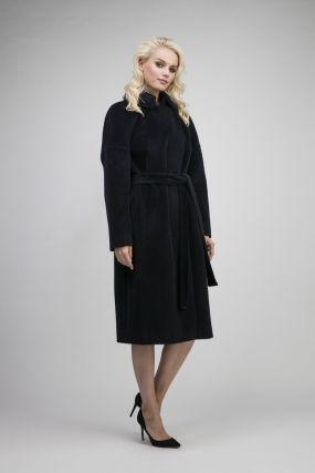 Длинное пальто на большой размер из альпака сури