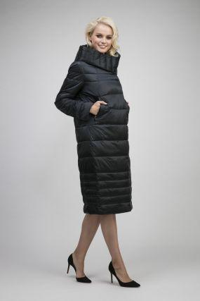 Российское демисезонное стеганое пальто с капюшоном