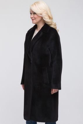 Длинное пальто кокон из альпака с английским воротником