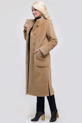 Длинное женское пальто на высокий рост с воротником-стойкой