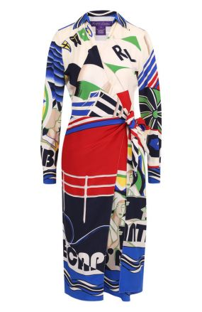 Шелковое платье-миди с запахом и принтом Ralph Lauren