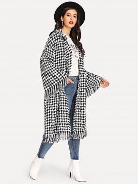Хаундстут пальто с кисточкой с расклешенным рукавом