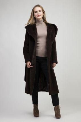 Женское длинное пальто с капюшоном из альпака сури