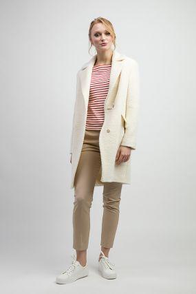 Молодежное пальто из альпака с английским воротником