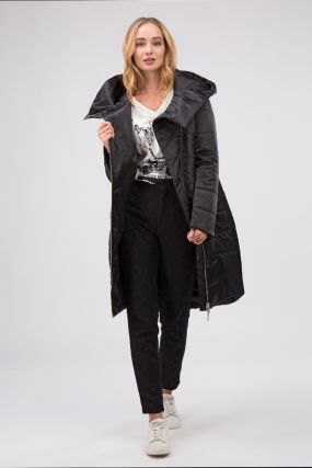 Пальто зауженного силуэта на молнии с капюшоном