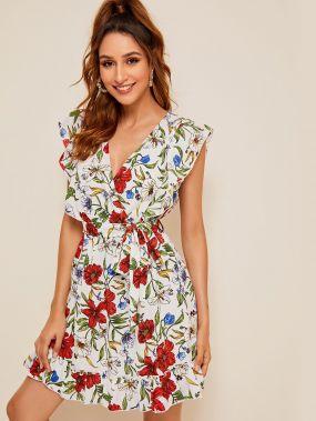 Платье с глубоким V-образным вырезом, оборкой и цветочным принтом